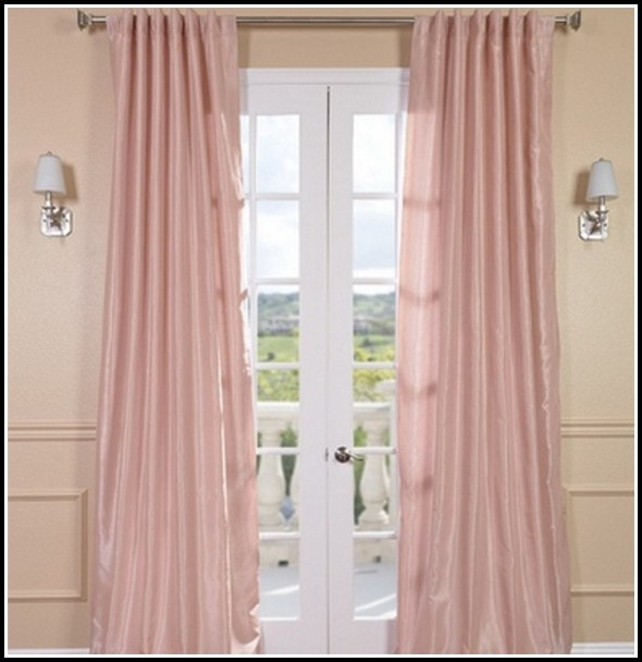 Pink Faux Silk Eyelet Curtains