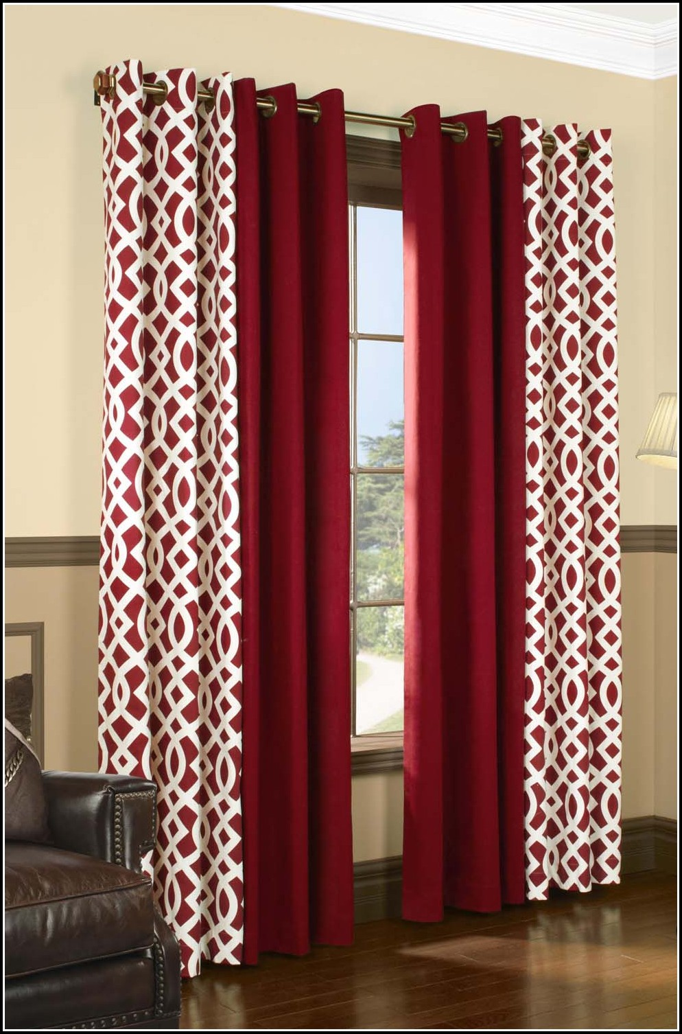 Red And White Striped Curtain Panels