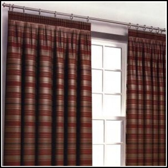 Red Green And Gold Striped Curtains