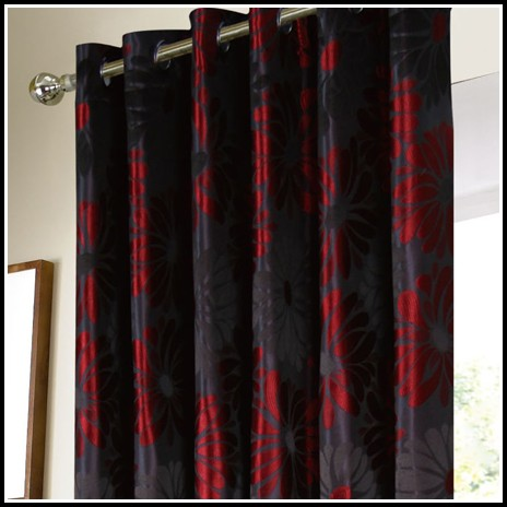 Red Silver And Black Curtains