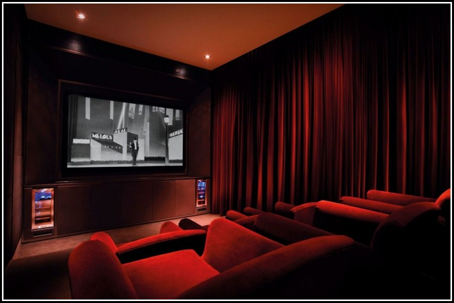 Red Velvet Home Theatre Curtains