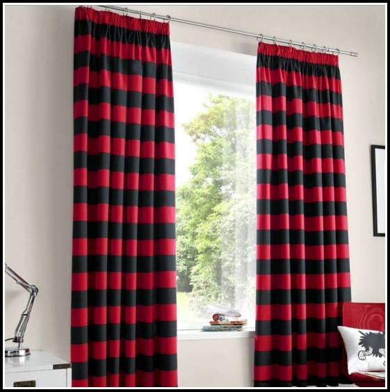 Red White And Black Striped Curtains