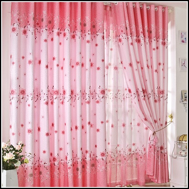 Rose Pink Faux Silk Curtains