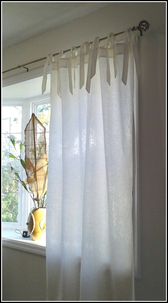 Tie Top Sheer Linen Curtains