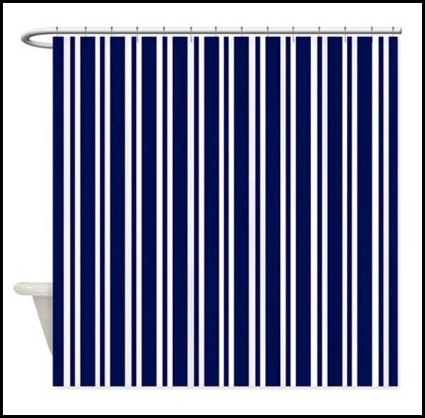 White And Navy Blue Striped Curtains