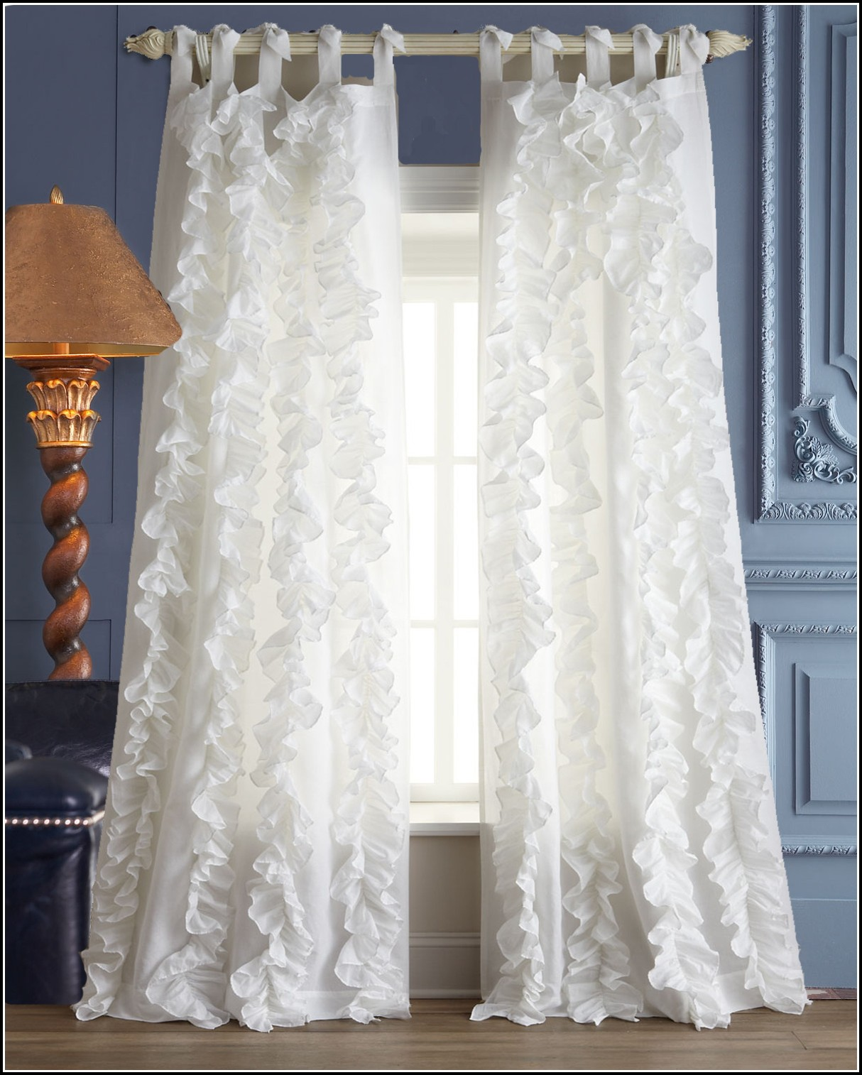 White Linen Tie Top Curtains