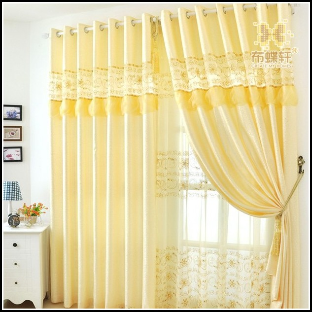 Yellow And White Striped Curtain Panels