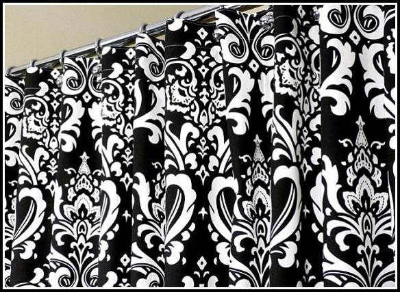 Black White Striped Curtain Panels