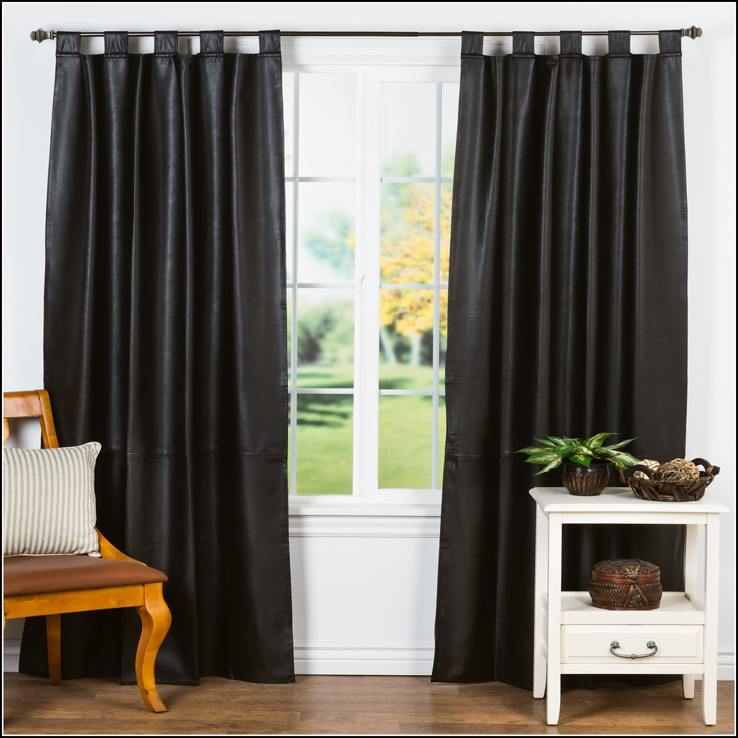 Faux Leather Curtain Panels