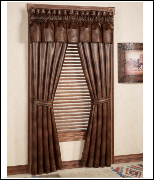 Faux Leather Tab Top Curtain Panels