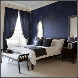 Navy Blue Eyelet Bedroom Curtains