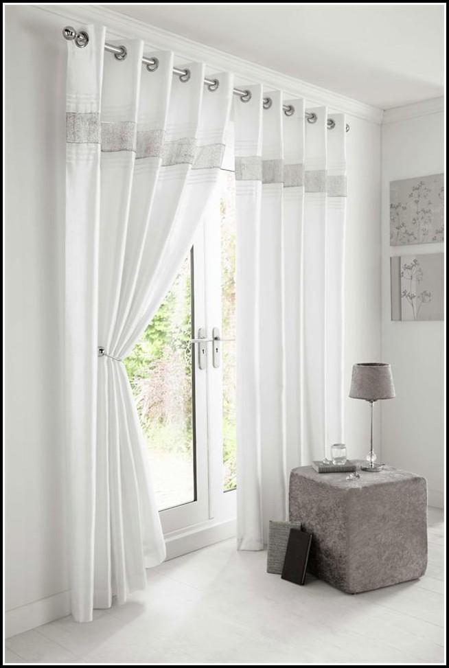 Silver Faux Silk Curtain Panels