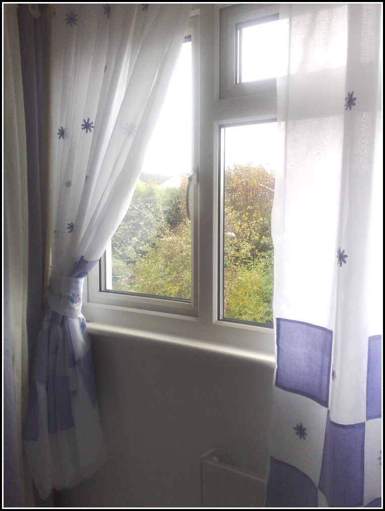 White Cotton Voile Tab Top Curtains