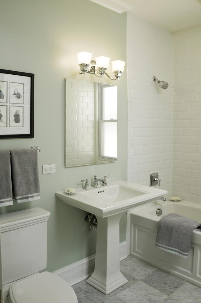 Small Pedestal Sink with Backsplash