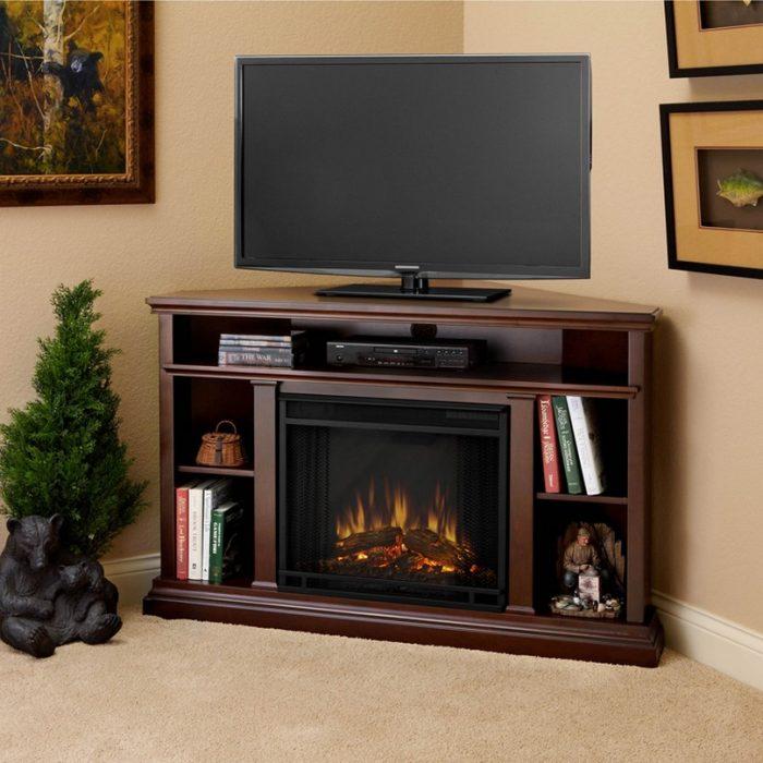 corner tv stand wood