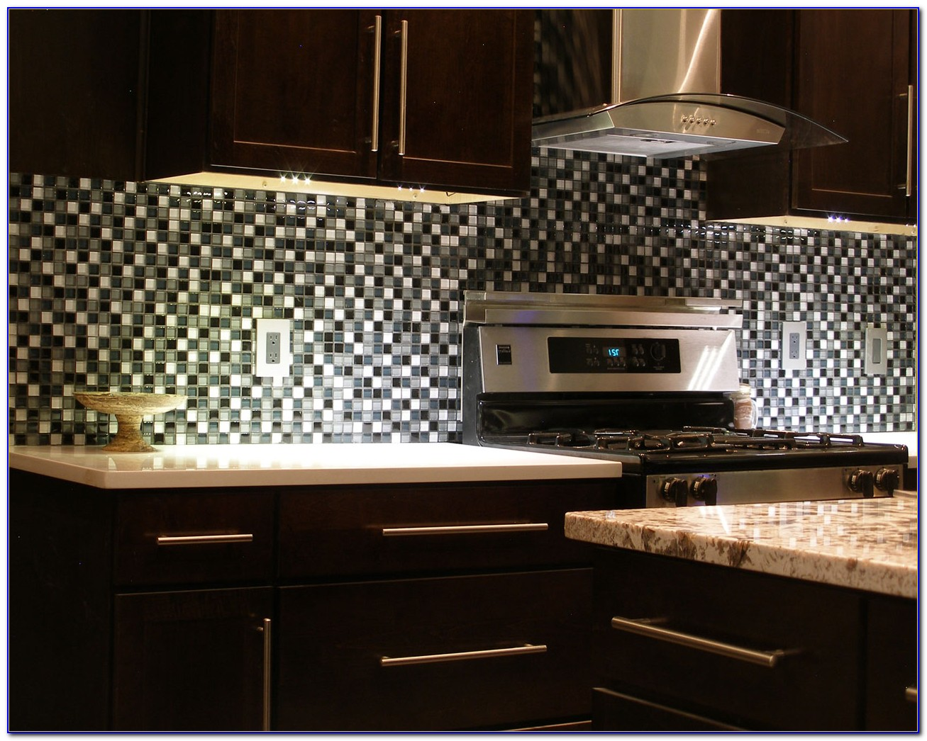 Black Glass Subway Tile Backsplash