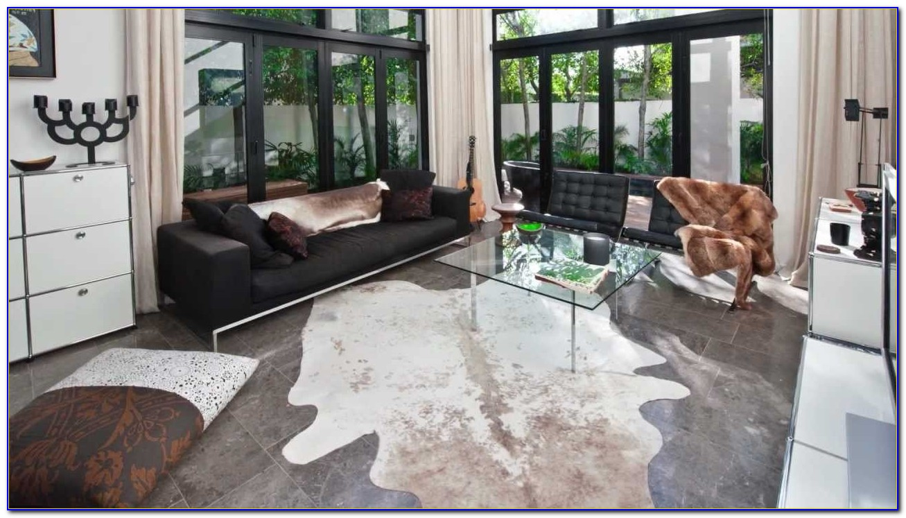 Faux Cowhide Rug Gray