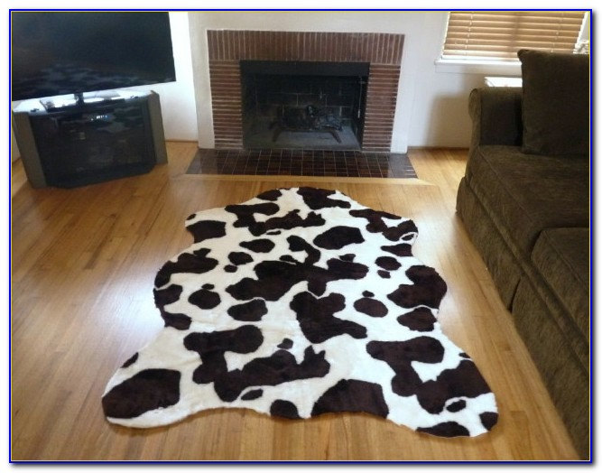 Faux Cowhide Rug Metallic