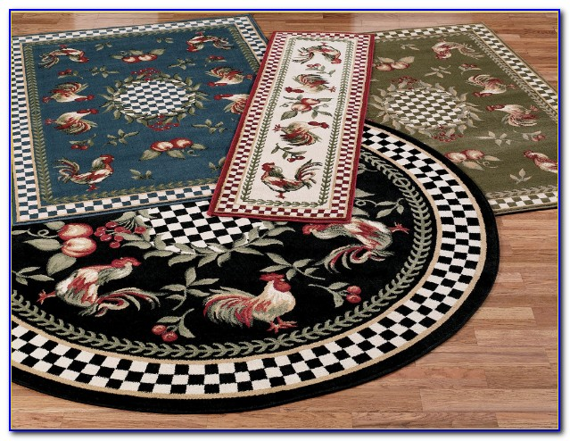 French Rooster Kitchen Rugs