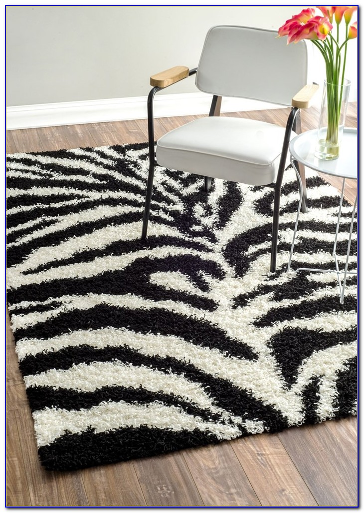 Zebra Print Rug With Pink Trim