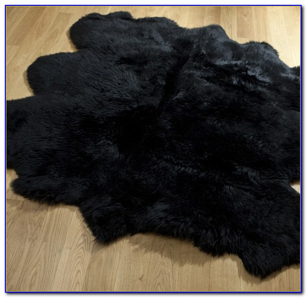 Black Sheepskin Rug Double