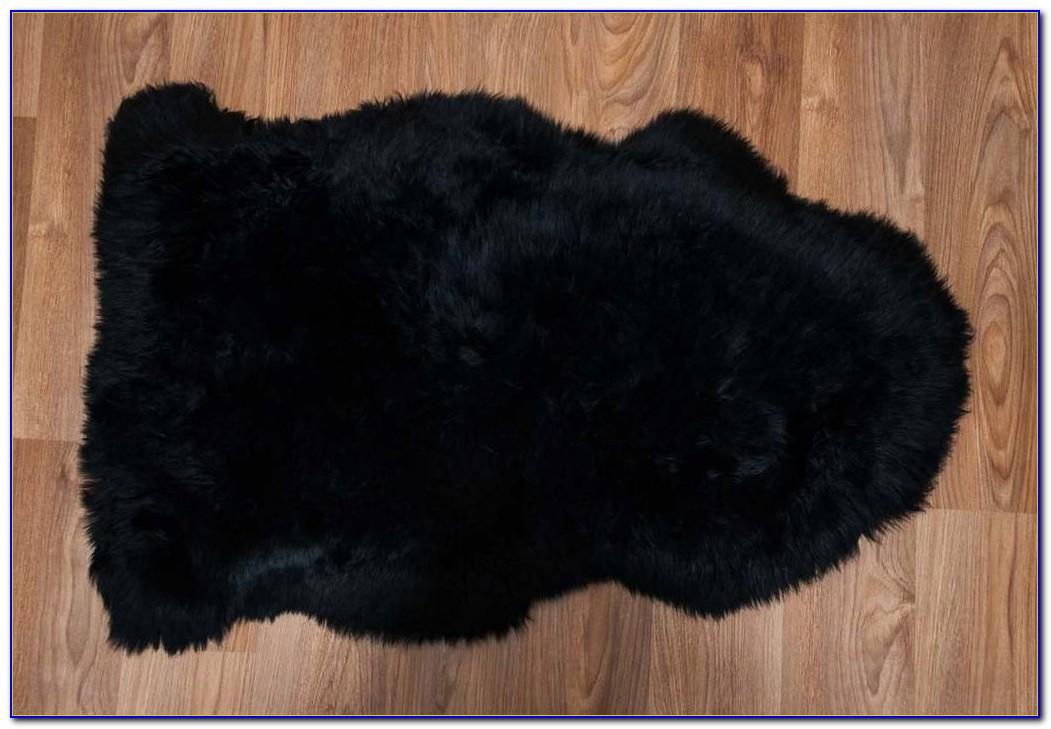 Black Sheepskin Rug Large