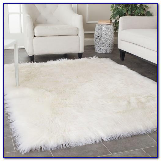 Faux Sheepskin Area Rug 5'x8' White