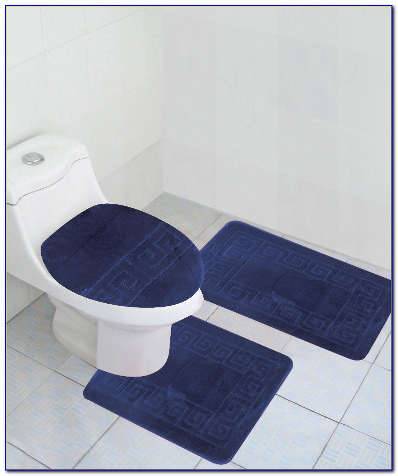 Navy Blue Cotton Bath Rugs