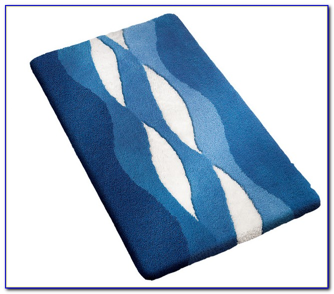 Navy Blue Plush Bathroom Rugs