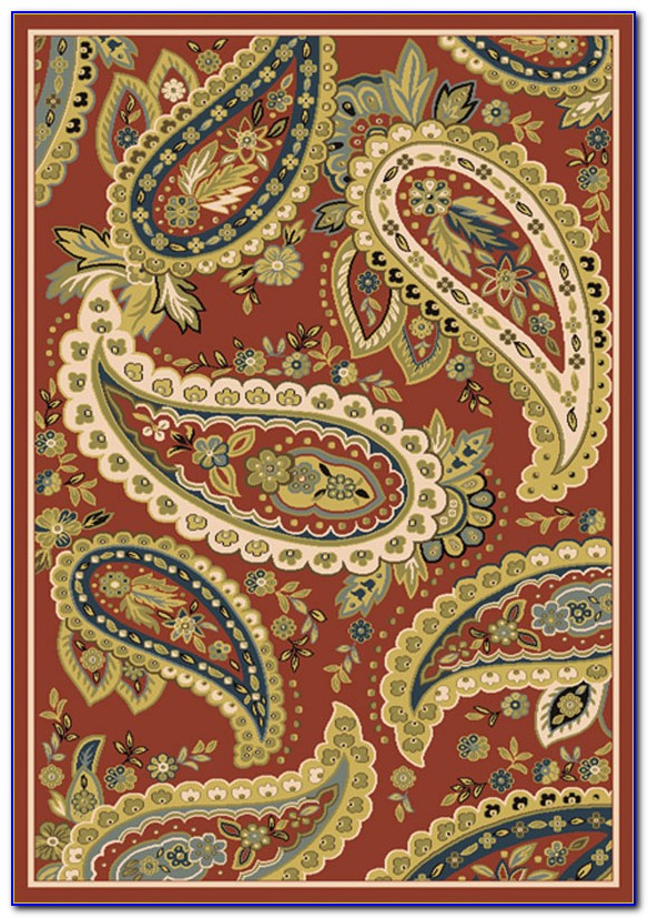 Paisley Area Rugs Red