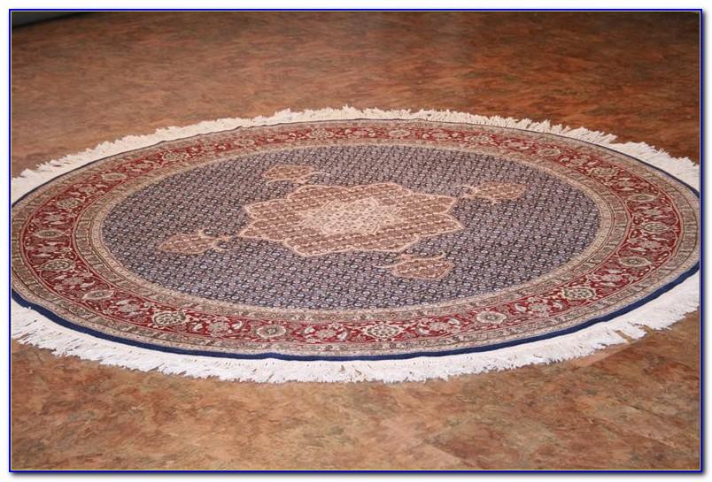 Round Oriental Rug Blue