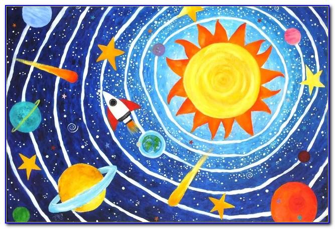 Round Solar System Rug