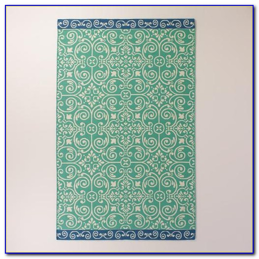 Turquoise Red Outdoor Rug
