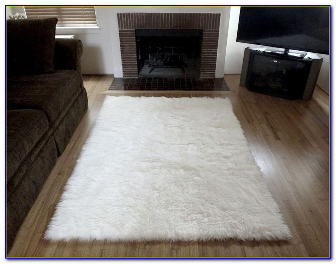 White Furry Rug For Bedroom