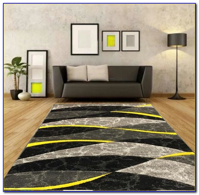 Yellow Striped Runner Rug