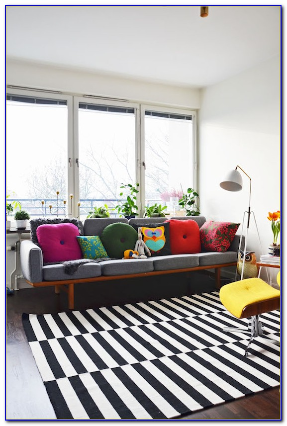 Ikea Gray Striped Rug