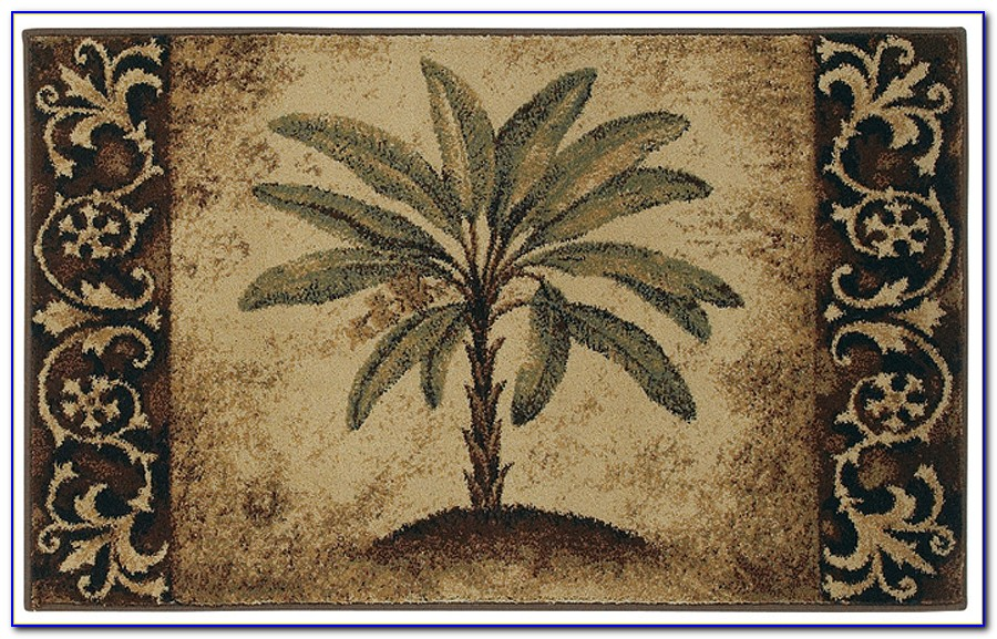 Palm Tree Print Area Rug