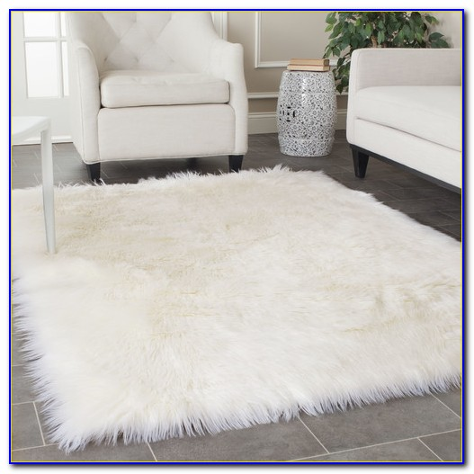 White Faux Fur Rug Large
