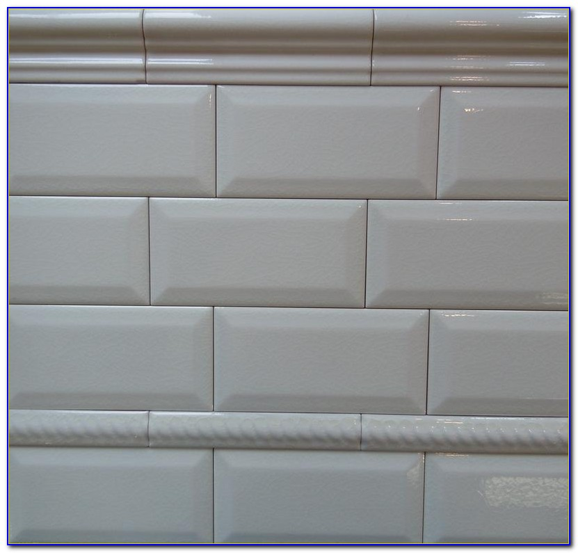 Beveled White Subway Tile Bathroom