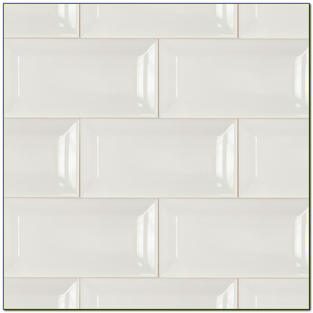 Beveled White Subway Tile Shower