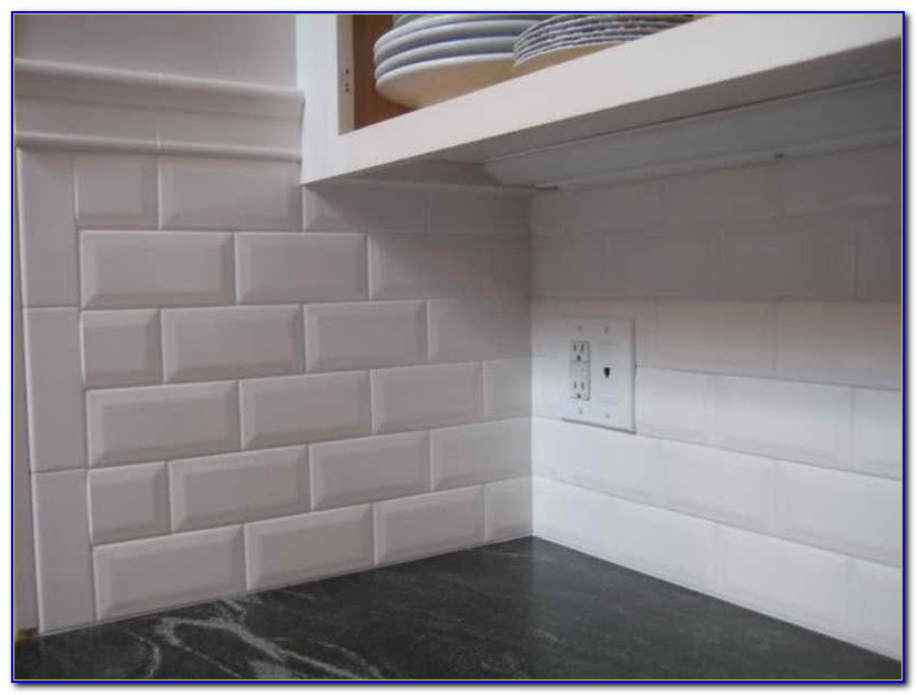 Beveled White Subway Tile With White Grout