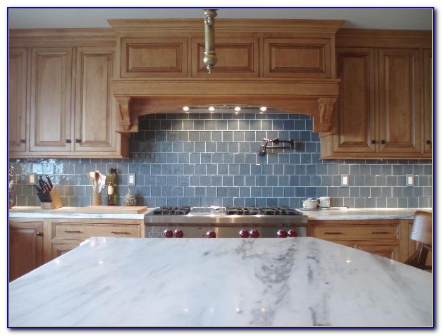 Blue Glass Subway Tile Backsplash