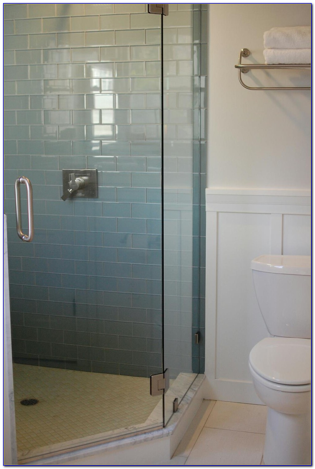 Blue Glass Subway Tile Shower