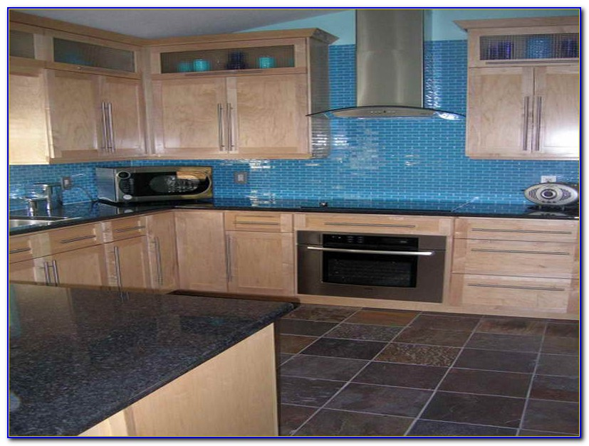 Blue Gray Glass Subway Tile Backsplash