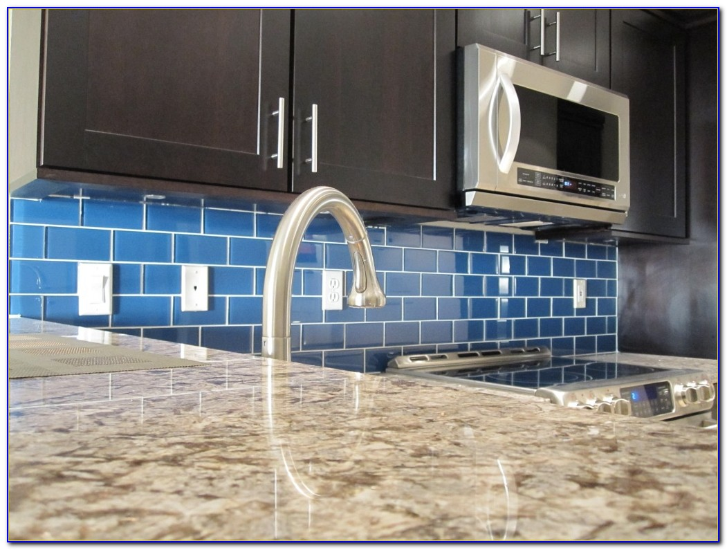 Blue Green Glass Subway Tile Backsplash