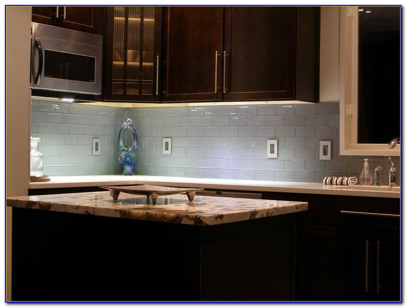 Blue Grey Glass Subway Tile Backsplash