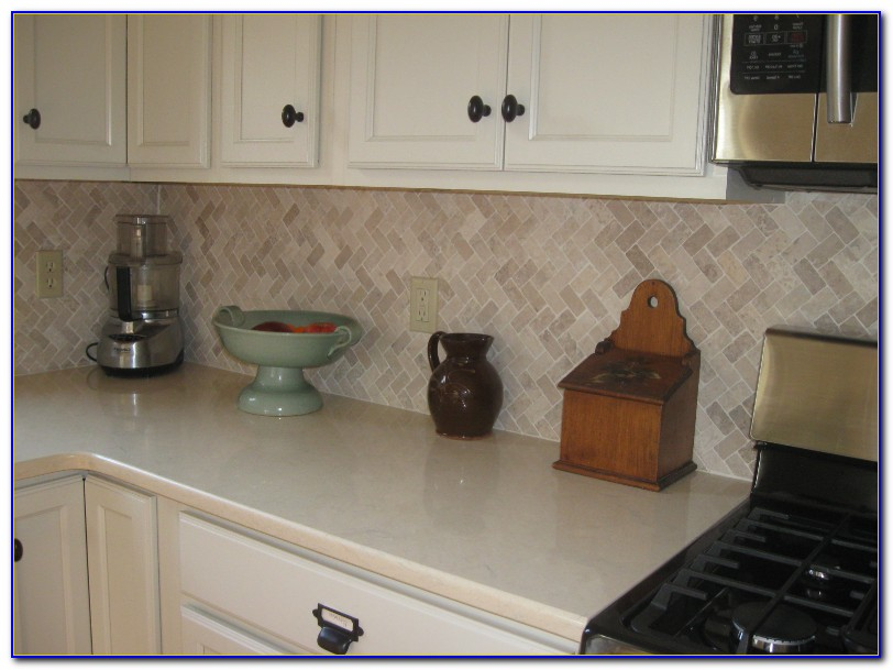 Cream Marble Subway Tile Backsplash