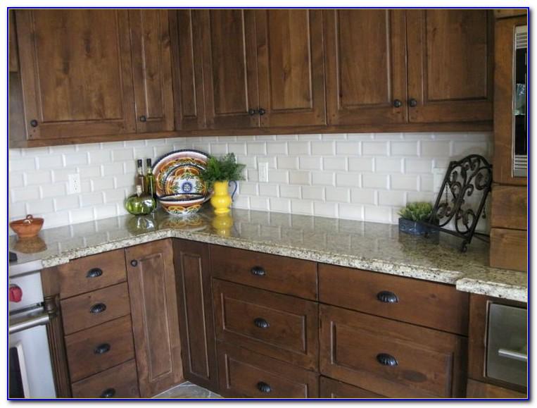 Cream Subway Tile Backsplash Kitchen