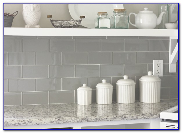 Dark Gray Glass Subway Tile Backsplash
