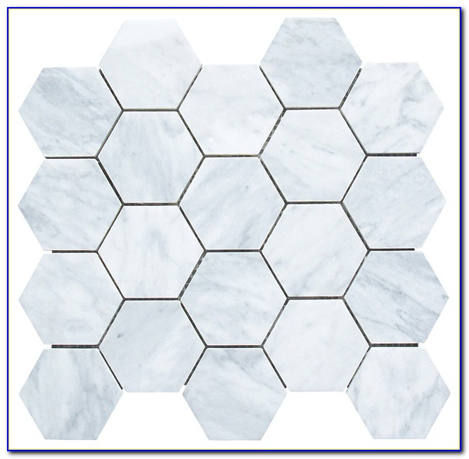 Faux Marble Hexagon Floor Tile
